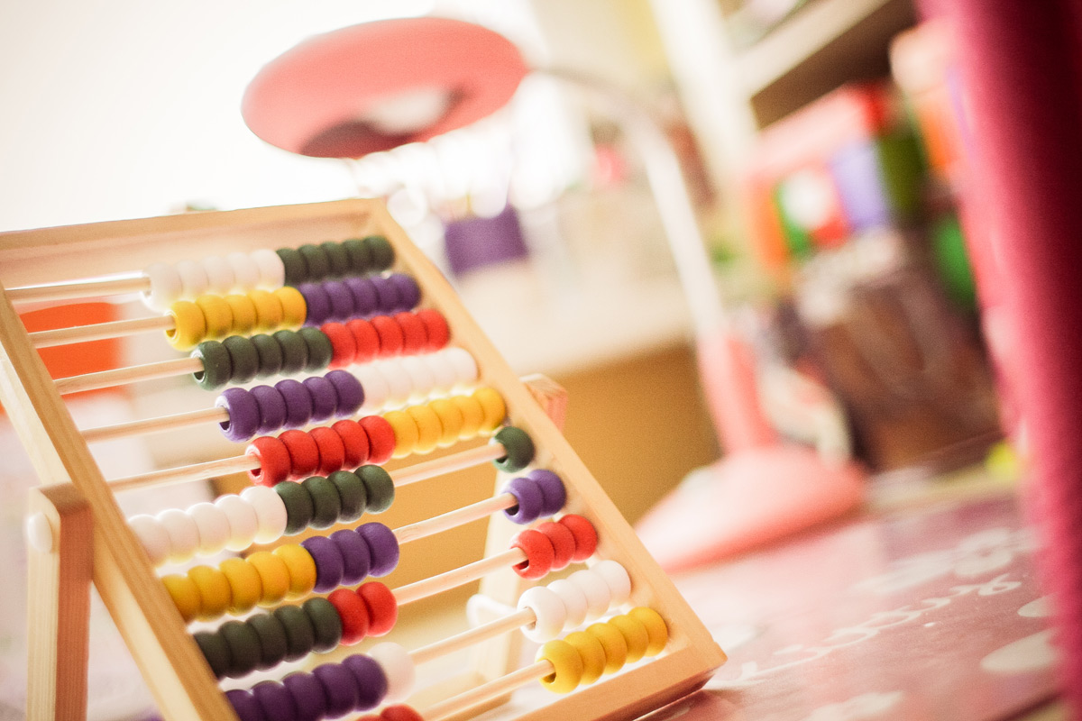 Child's abacus in learning environment